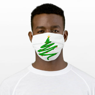 Green Christmas Tree Doodle Adult Cloth Face Mask