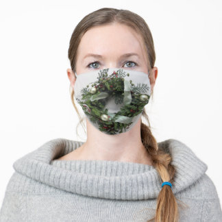 Green Christmas wreath Adult Cloth Face Mask