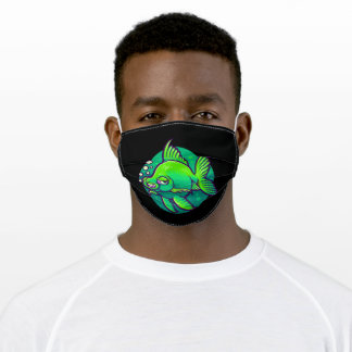 Green fish adult cloth face mask