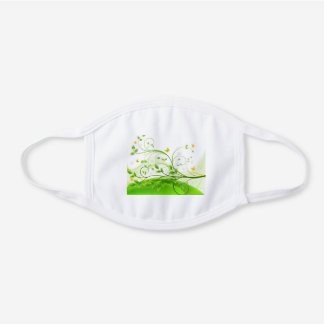 Green floral background white cotton face mask