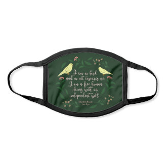 Green Floral Bird Quote Jane Eyre Charlotte Bronte Face Mask