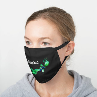 Green Floral Personalized Name Black Cotton Face Mask
