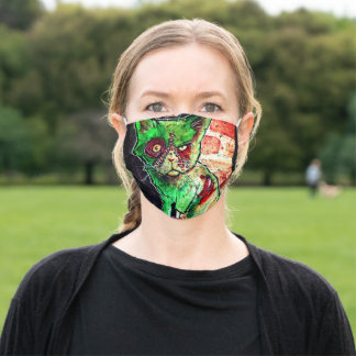 Green grumpy Zombie Cat on Brick Wall painting l Adult Cloth Face Mask