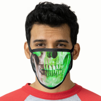 Green Human Skull Black and Gold Face Mask