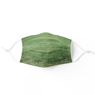 Green Lawn Grass - Abstract Fresh Turf Photography Adult Cloth Face Mask