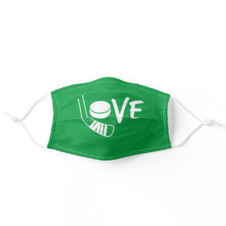 Green Love Hockey Face Mask with stick and puck