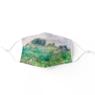 Green Meadow by Renoir Impressionist Painting Adult Cloth Face Mask