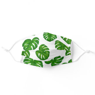 Green Monstera Deliciosa Leaves Pattern Adult Cloth Face Mask