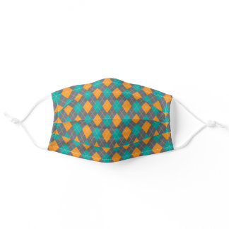 Green Orange Argyle Harlequin Diamond Pattern Adult Cloth Face Mask