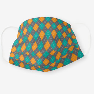 Green Orange Argyle Harlequin Diamond Pattern Cloth Face Mask