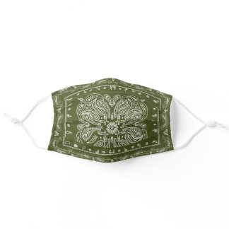 Green Paisley Print Bandana Adult Cloth Face Mask