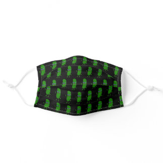 green pickle with glasses adult cloth face mask
