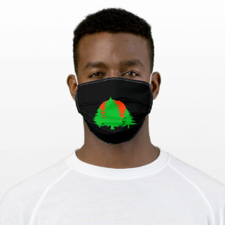 green pine trees and sunset adult cloth face mask