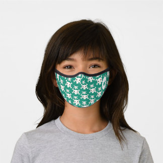Green pirate skull pattern kid fun custom monogram premium face mask