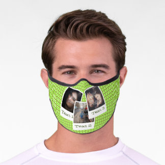 Green Plaid Pattern with Photo Collage and Text. Premium Face Mask