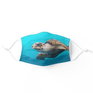 Green Sea Turtle Photograph Blue Ocean Adult Cloth Face Mask