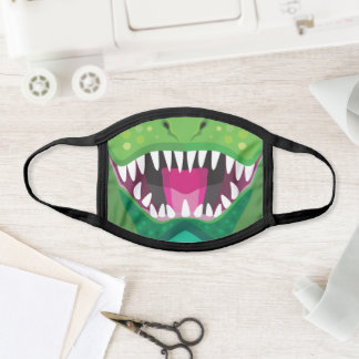 Green T-Rex Dinosaur Cartoon Face Mask