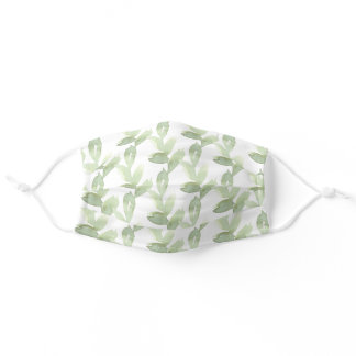 Green Watercolor Leaves White Botanical Adult Cloth Face Mask