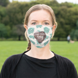 Green Watercolor Succulent Pattern Adult Cloth Face Mask
