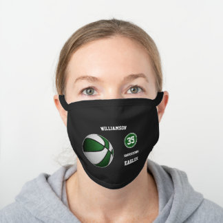 green white team colors sporty basketball player black cotton face mask