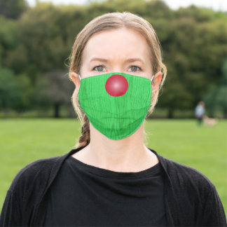 Green Woodgrain with Red Nose Adult Cloth Face Mask