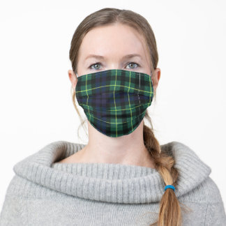 Green Yellow and Blue Scottish Tartan - Adult Cloth Face Mask