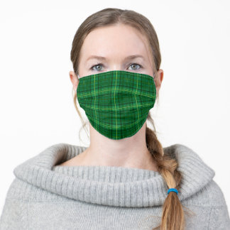 Green Yellow Plaid Pattern Simple Adult Cloth Face Mask