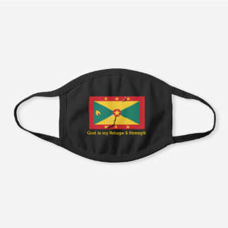 GRENADA FLAG MAP | Customizable | GOD IS MY REFUGE Black Cotton Face Mask