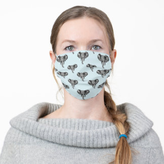 Grey African Elephant Heads Pattern Adult Cloth Face Mask