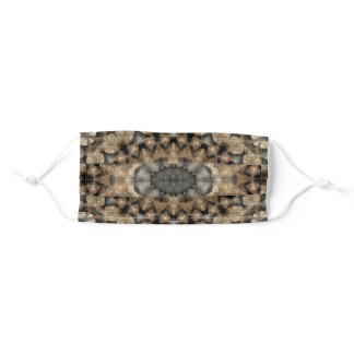 Grey and Beige Pebbles Mandala Kaleidoscope Beach Adult Cloth Face Mask