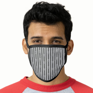 Grey and Black Hearts and Stripes Pattern Face Mask
