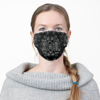 Grey and Black Mandala Pattern Adult Cloth Face Mask