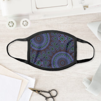 Grey and Green Modern Mandala Pattern Face Mask