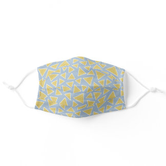 Grey And Mustard Yellow Triangle Geometric Pattern Adult Cloth Face Mask