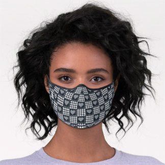 Grey and White Checkered Plaid Tartan Hearts Premium Face Mask