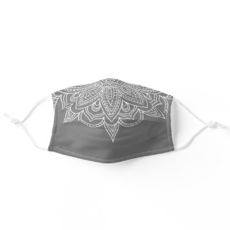 Grey and White Mandala Bandana Style Covid 19 Adult Cloth Face Mask