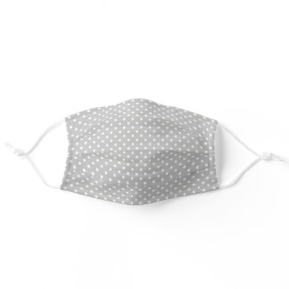 Grey and White Polka Dot Covid 19 Adult Cloth Face Mask