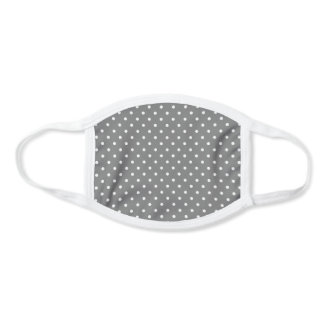 Grey and White Polka Dots Pattern Face Mask