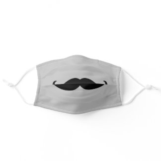 Grey Black Retro Mustache Adult Cloth Face Mask