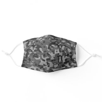 Grey Camouflage Abstract Adult Cloth Face Mask