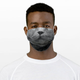Grey Cat Adult Cloth Face Mask