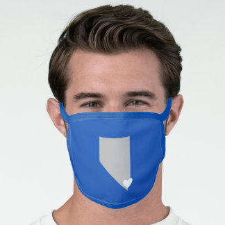 Grey Nevada and White Heart Blue Face Mask