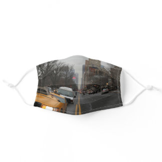 Grey New York City Street with Yellow Cab Adult Cloth Face Mask