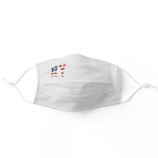 Grey NY USA American Patriotic Flag Adult Cloth Face Mask