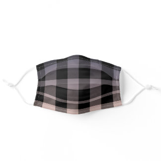 Grey Ombre Black Gingham Pattern Adult Cloth Face Mask