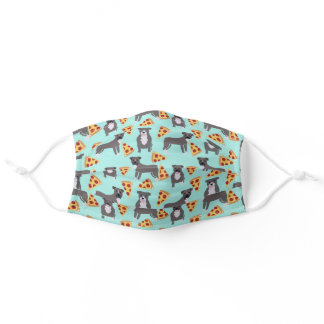 grey pitbulls pizza light blue adult cloth face mask