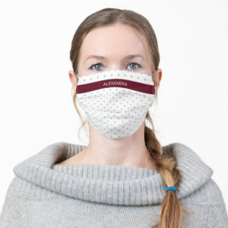 Grey Polka Dots with Autumn Burgundy Name Band Adult Cloth Face Mask