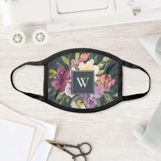 GREY PURPLE BLUSH BURGUNDY FLORAL MONOGRAM INITIAL FACE MASK