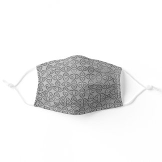 Grey Silver Effect Heart Pattern Elegant and Chic Adult Cloth Face Mask