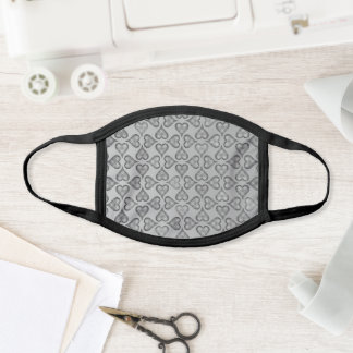Grey Silver Effect Heart Pattern Elegant and Chic Face Mask
